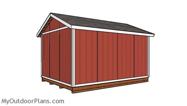 12x16 Storage Shed Plans - Back view
