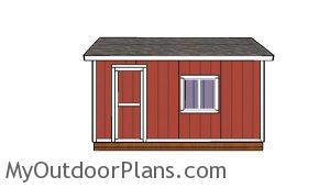 12x16 Storage Shed Plans - Side view