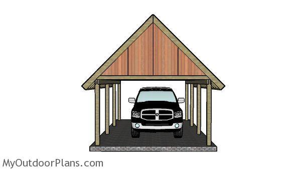 16x22 Carport Plans - Front view