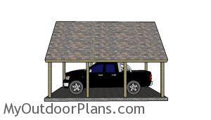 16x22 Carport Plans - Side view