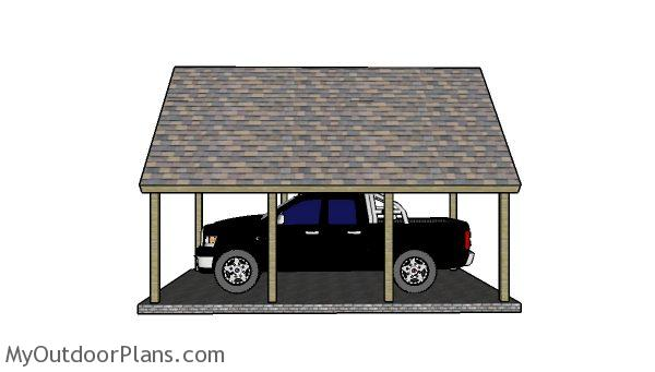 16x22 Carport Plans - Side view