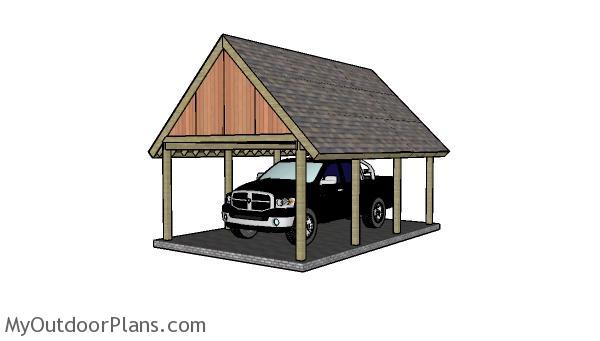 16x22 Single Carport Plans