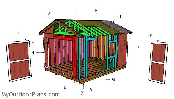12x16 Gable Storage Shed Roof Plans