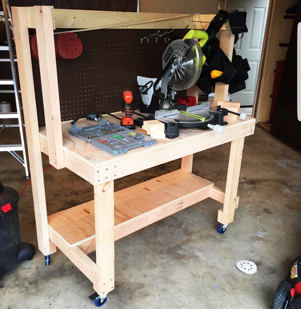 DIY Workbench with Top Shelf