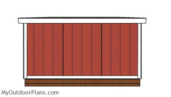 10x12 Lean to shed Plans - Back view