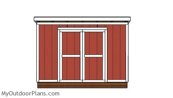 10x12 Lean to shed Plans - Front view