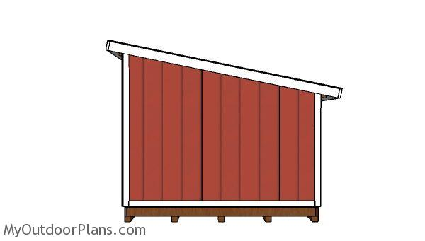 10x12 Lean to shed Plans - Side view