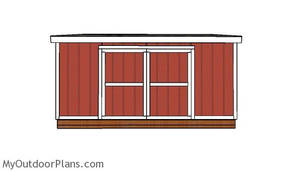 10x16 Lean to shed Plans - front view