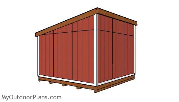 12x12 Lean to shed Plans - back view