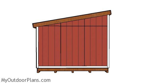 12x12 Lean to shed Plans - side view