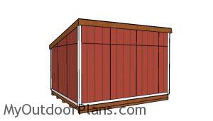 12x14 Lean to shed Plans - Back view