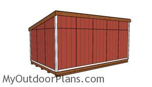 12x20 Lean to shed Plans - back view