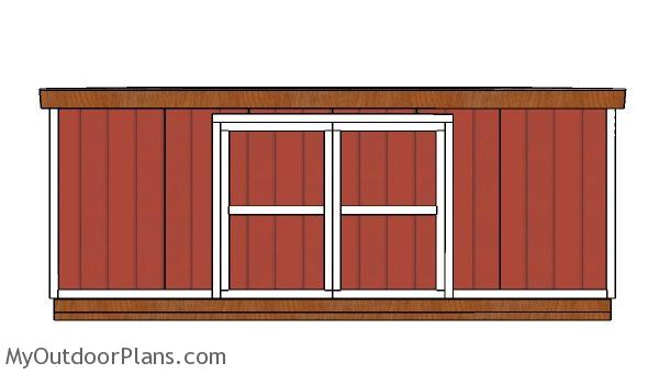 12x20 Lean to shed Plans - front view