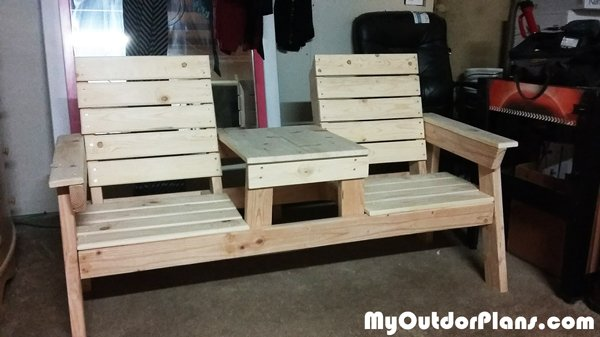 DIY Double Chair Bench with Table Plans