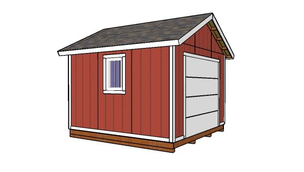 12x12 Shed with garage door plans - Side view