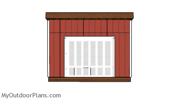 14x14 Lean to shed Plans - Front view
