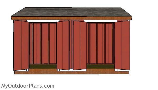 4x16 shed plans - front view