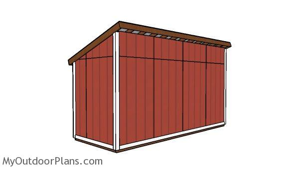 6x16 Lean to Shed Plans - Back view