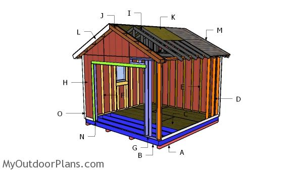 12×12 Shed with Garage Door Roof Plans