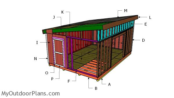 14x20 Lean to Shed Roof Plans