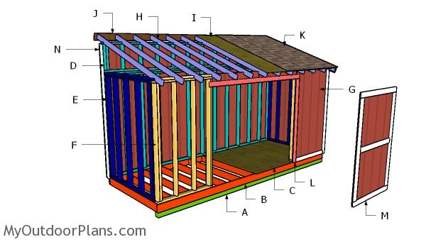 6x16 Lean to Shed Roof Plans