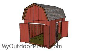 10x16 Barn Shed with Loft Plans - doors open