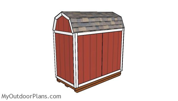 4x8 Barn Shed Plans - Back view