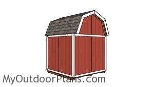 8x8 Gambrel Shed Plans - Back view