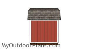 8x8 Gambrel Shed Plans - Side view