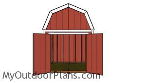 8x8 Gambrel Shed Plans - front view