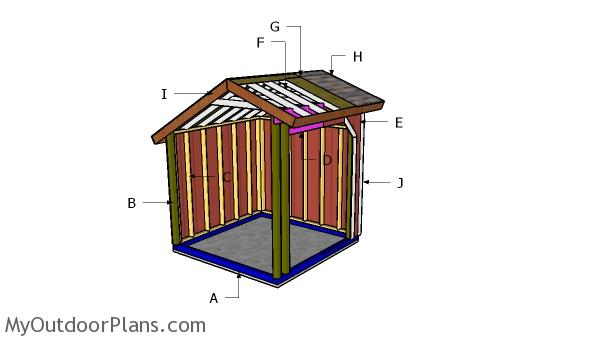 8x8 Loafing Shed Saltbox Roof Plans