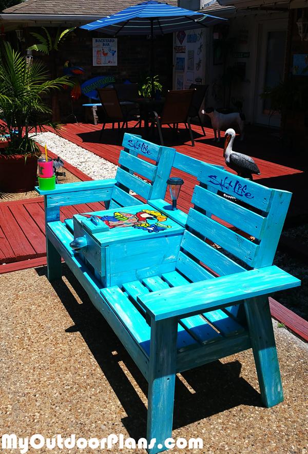 DIY Garden Bench with Cooler