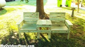 DIY Large Double Chair Bench with Table