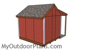 10x12 shed with porch plans - Back view