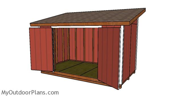 8x14 Lean to Shed Plans - Front view