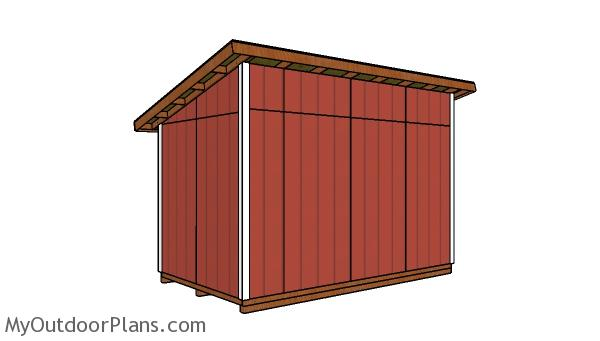 8x14 Lean to Shed Plans - back view