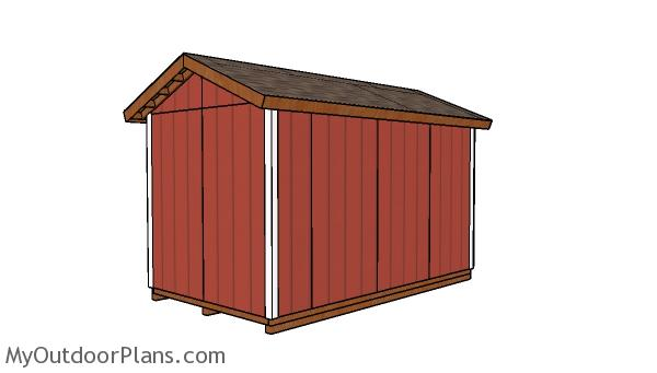 8x14 Shed Plans - Back view