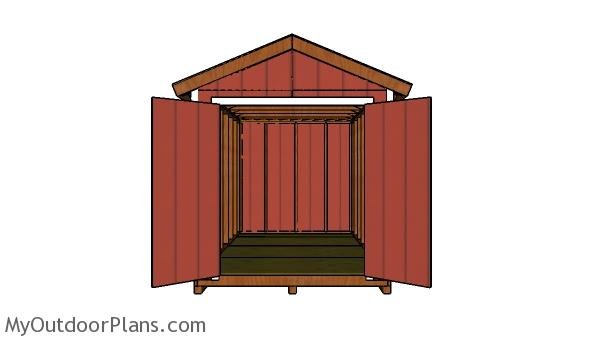 8x14 Shed Plans - Front view