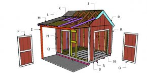 10×12 Gable Shed with Porch Roof Plans