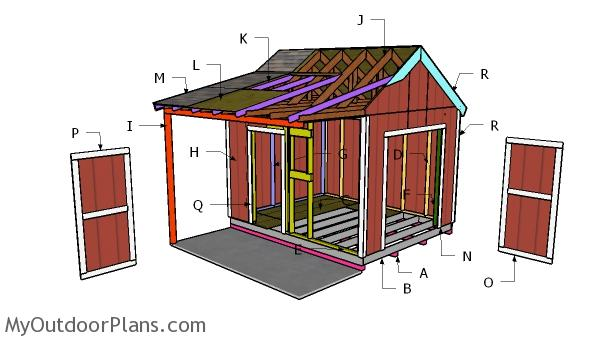 10x12 Gable Shed with Porch Roof Plans