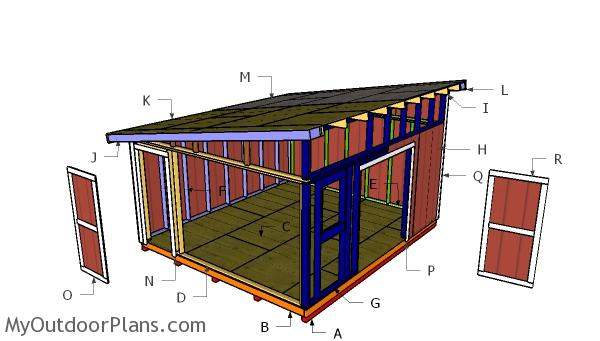 14x16 Lean to Shed Roof Plans
