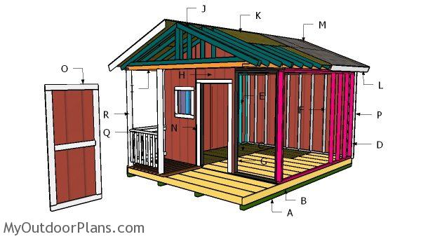 12x12 shed with porch roof plans myoutdoorplans free for Shed roof porch plans