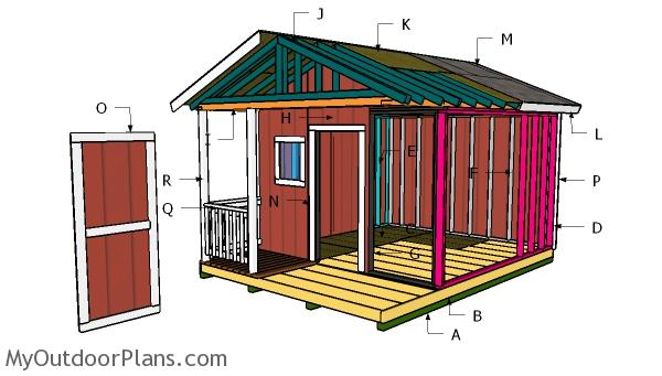 12x12 Shed with Porch Roof Plans