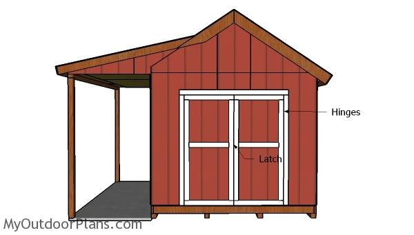 10x12 Shed with Porch Door Plans