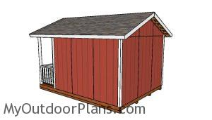 Free 12x12 shed with porch plans - Back view