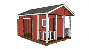12×12 Gable Shed with Porch Plans