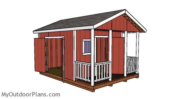 12x12 Gable Shed with Porch Plans