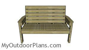 Large outdoor bench plans - Front View