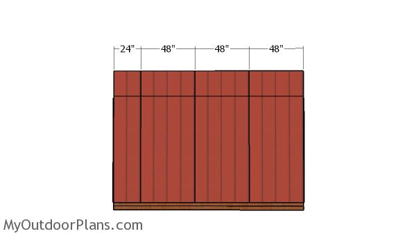 Top back wall siding panels