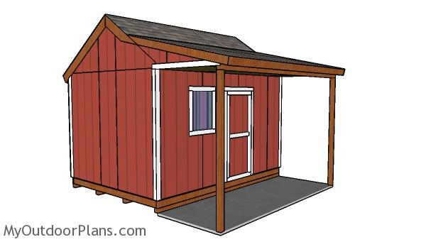 10x14 Shed with Side Porch Plans